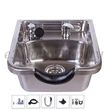 stylist and luxury supply lines for kitchen sink. Stainless Steel Brushed Shampoo Bowl Salon Sink for Barber or Beauty  TLC 1167 Amazon com