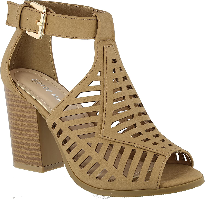 Top Moda Womens Casual Gladiator Flat Sandal with A Low Chunk Heel