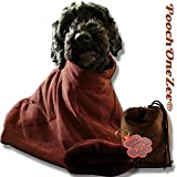 PoochOneZee Dry Fast Dog Bag - Water Mud and Dirt Super Absorbent Microfiber Solution Towel Thick Neck Hook and Loop Strap (Brown)