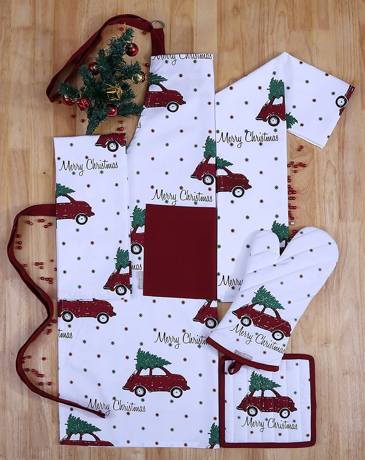 Set of Apron, Oven Mitt, Pot Holder, Pair of Kitchen Towels in a Unique Merry Christmas Design, Made of 100% Cotton, Eco-Friendly & Safe, Value Pack and Ideal Gift Set,Kitchen Linen Set By CASA DECORS