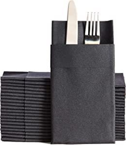 Black Dinner Napkins Cloth Like with Built-in Flatware Pocket, Linen-Feel Absorbent Disposable Paper Hand Napkins for Kitchen, Bathroom, Parties, Weddings, Dinners or Events, 16x16 inches, Pack of 50