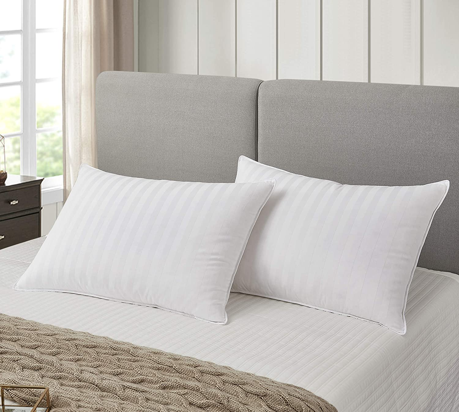 Blue Ridge Home Fashions White Siberian 500 Thread Count Cotton Damask Pattern Premium Pillow-Natural Hypoallergenic Fill-Made in USA, Jumbo