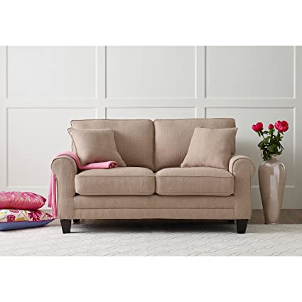 Modern Loveseat Sofa With Comfortable Soft Seat, Cushion Back And Round  Arms, Made From