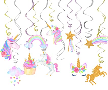 Amazon Com 30 Ct Unicorn Hanging Swirl Decorations Unicorn Party