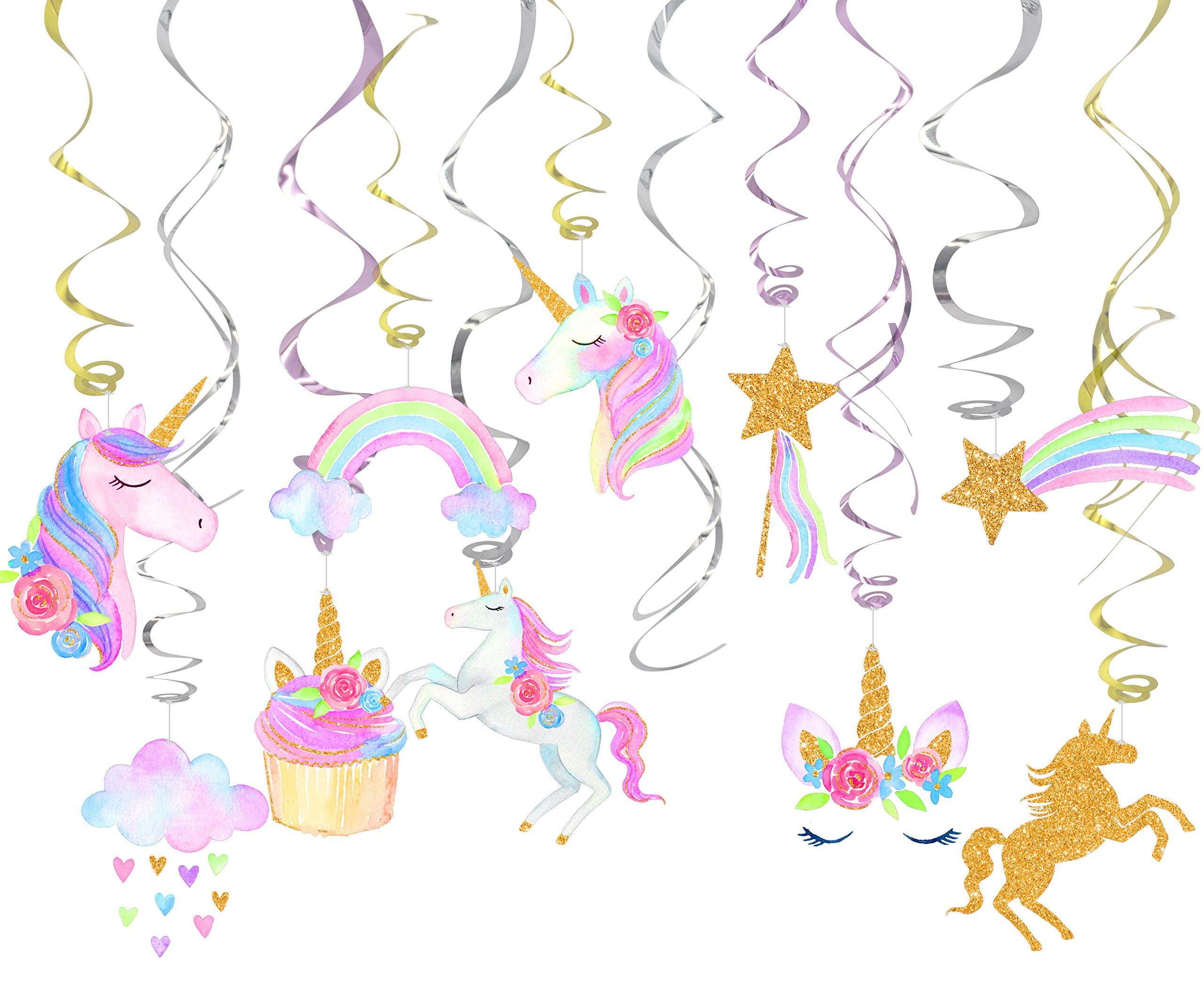 30 Ct Unicorn Hanging Swirl Decorations-Unicorn Party Decorations-Unicorn Birthday Party Supplies 3