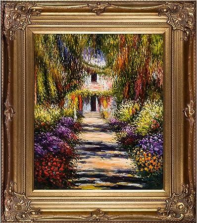 overstockArt Sendero en el jardín de Giverny de Claude Monet con Marco de Renacimiento Bronce Pintado a Mano óleo sobre Lienzo, Madera, Multicolor: Amazon.es: Hogar