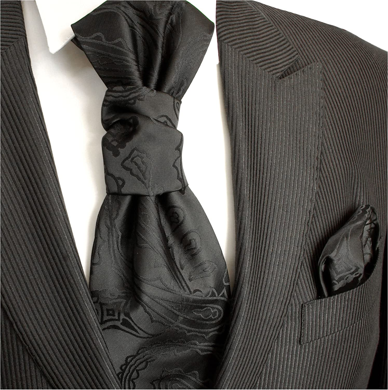 Paul Malone - Corbata de boda - Paisley - Hombre Negro negro ...