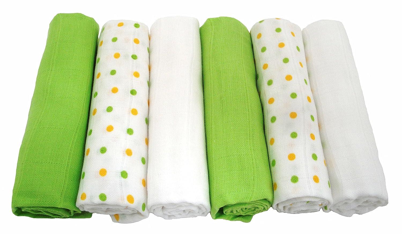 color verde Muslinz Pa/ños de muselina 6 unidades