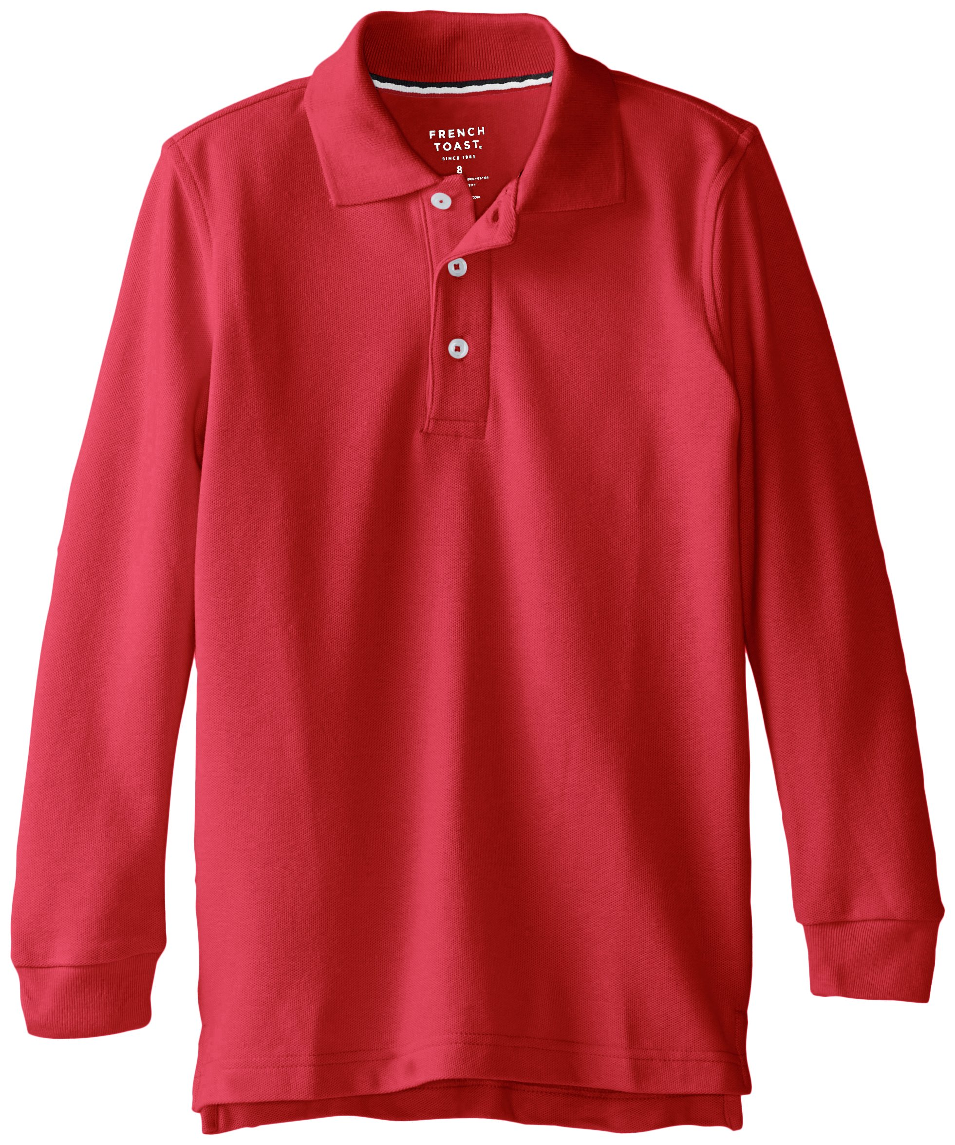 French Toast Big Boys' Long Sleeve Pique Polo, Red, 8