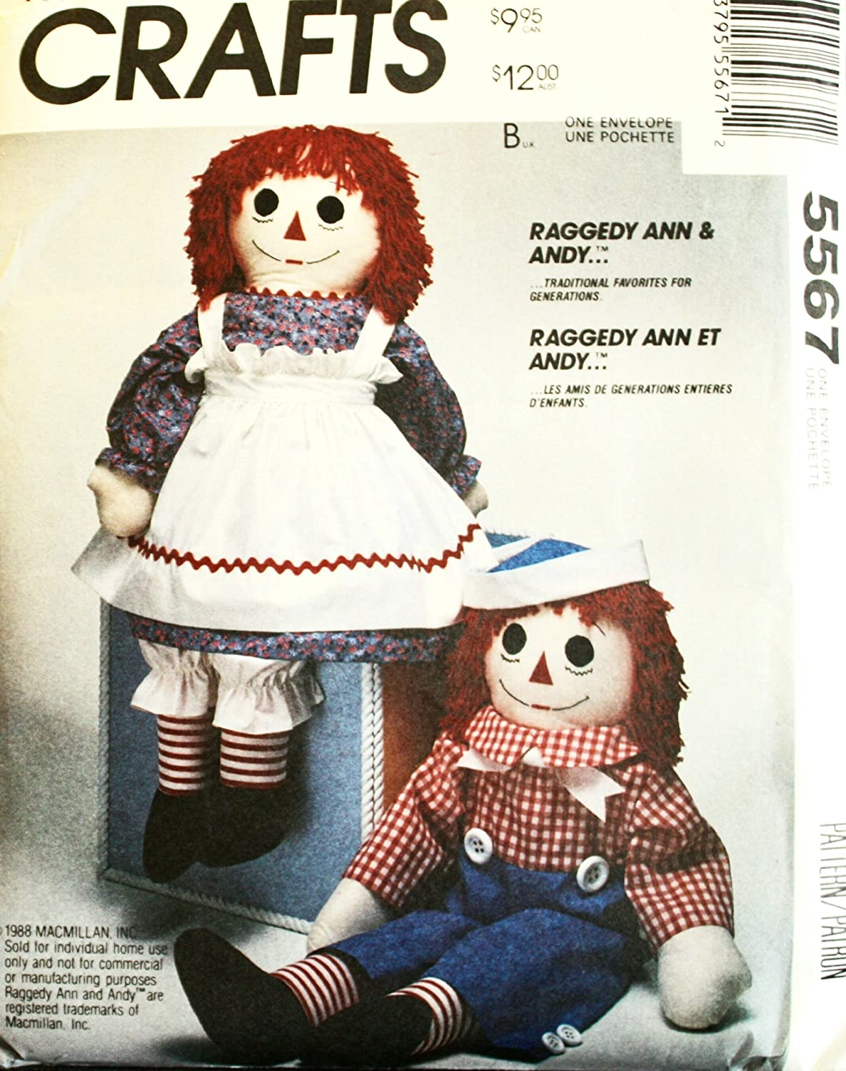 amazon com mccall u0027s 8378 crafts sewing pattern stuffed raggedy