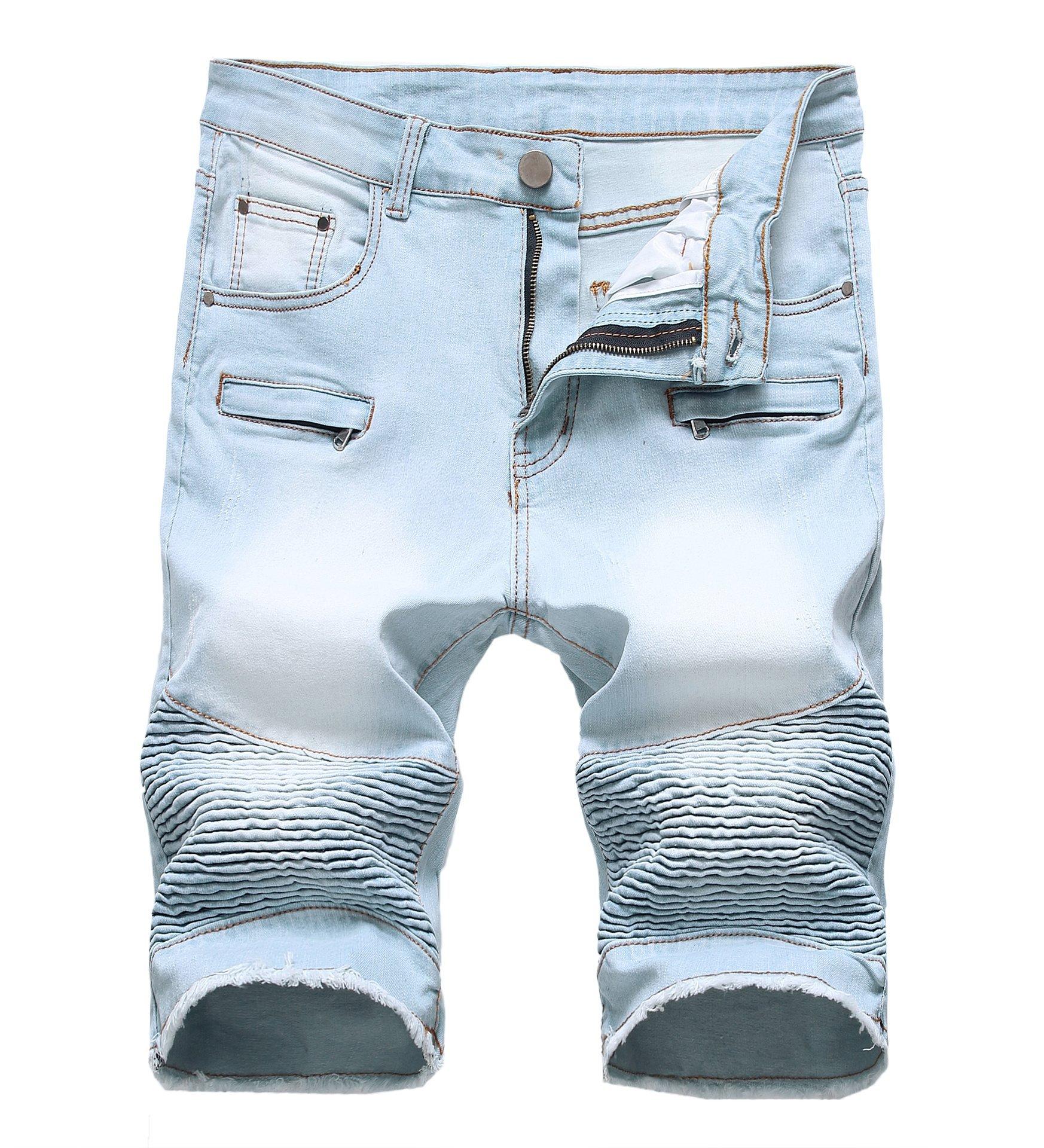 CLANNAD Men's Moto Biker Shorts Jeans Zipper Denim Casual Slim Shorts with Hole Light Blue 42