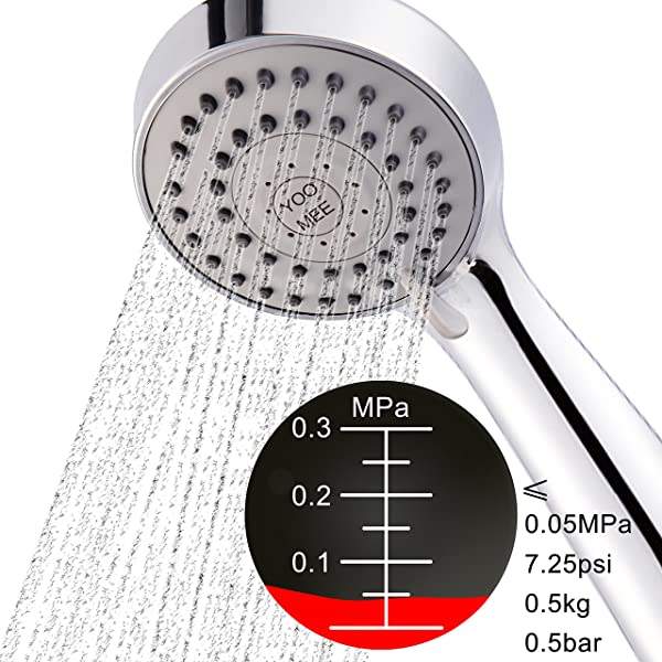 YOO.MEE High Pressure Handheld Shower Head with Powerful Shower Spray against Low Pressure Water Supply Pipeline, Multi-functions, Bathroom Accessories w/ Hose, Bracket, and Teflon Tape