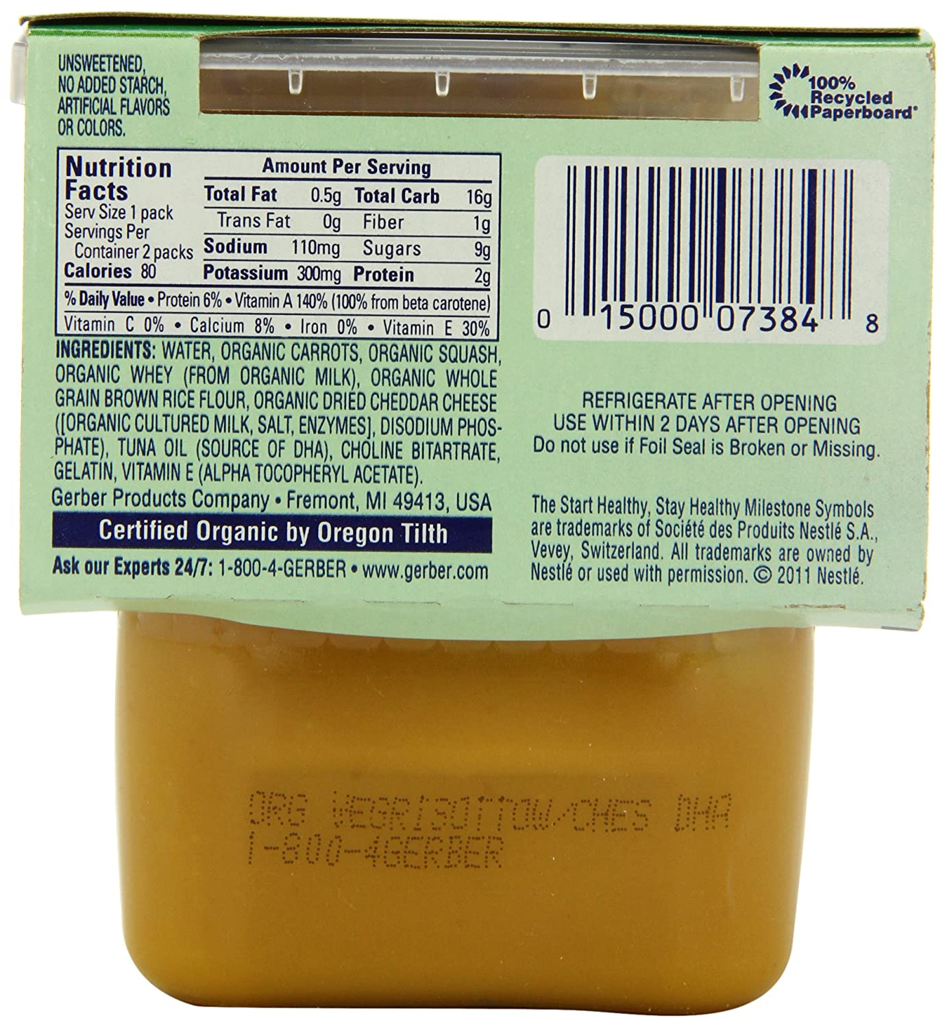 Gerber 2nd Foods Organic Vegetable Risotto with Cheese, 2-Count, 3.5-Ounce Containers (Pack of 8): Amazon.com: Grocery & Gourmet Food
