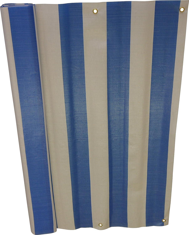Angerer Balkonbespannung PE-Gewebe Blockstreifen, Blau, 75 cm hoch, Länge  8 Meter