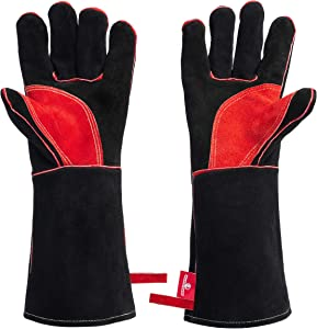 HereToGear Fireproof and Heat Resistant Gloves - 16 IN - Great for Fireplace, Fire Pit or Wood Stove - Work with Blacksmith Tools
