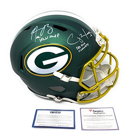 2475efc37ad Aaron Rodgers Clay Matthews Green Bay Packers DUAL Signed Autograph Full  Size Blaze Speed Helmet DUAL