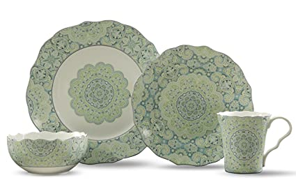 222 Fifth Lyria 16-Piece Dinnerware Sets Teal  sc 1 st  Amazon.com & Amazon.com   222 Fifth Lyria 16-Piece Dinnerware Sets Teal ...