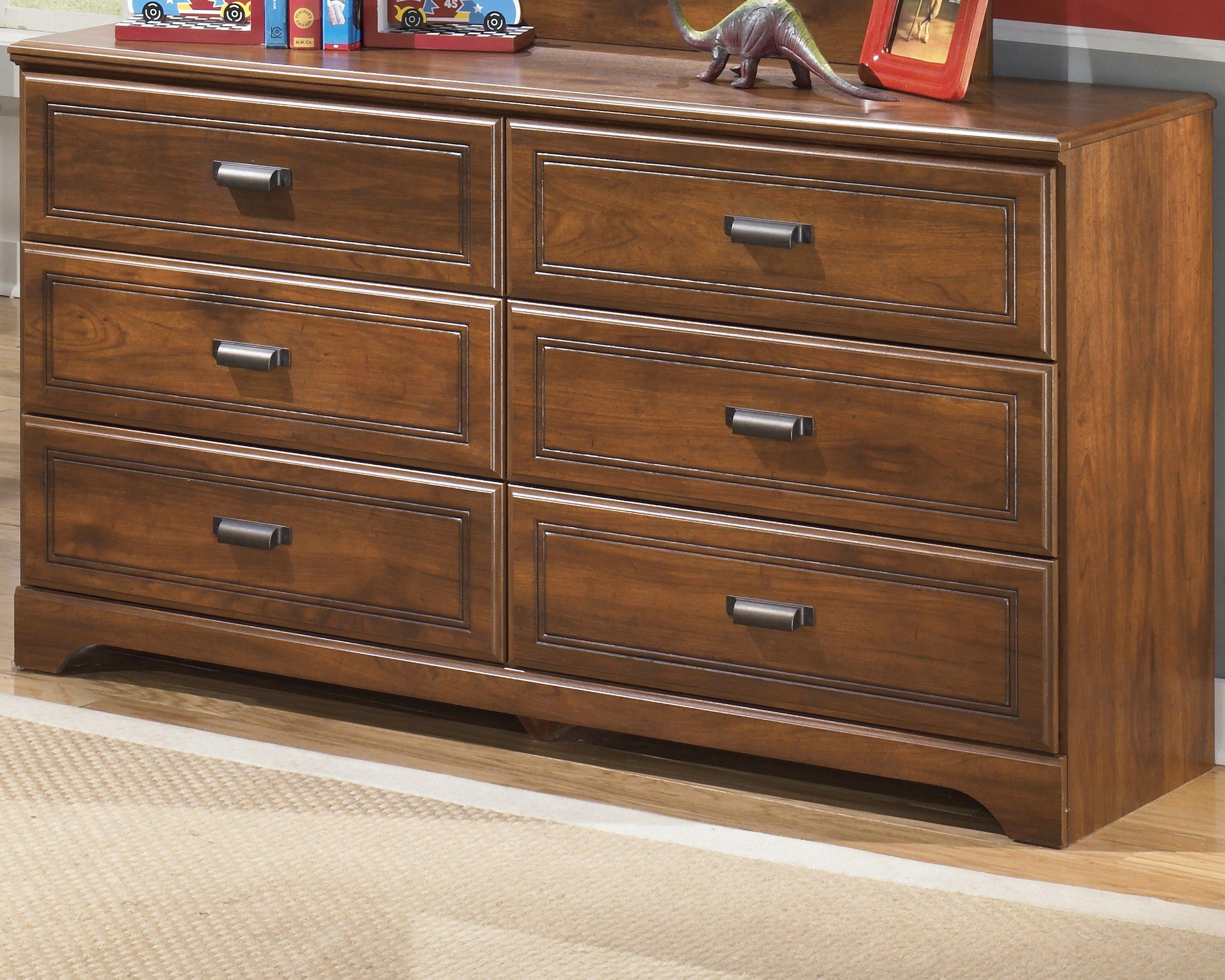 Ashley Furniture Signature Design - Barchan Dresser - 6 Drawer - Casual Replicated Cherry Grain - Medium Brown