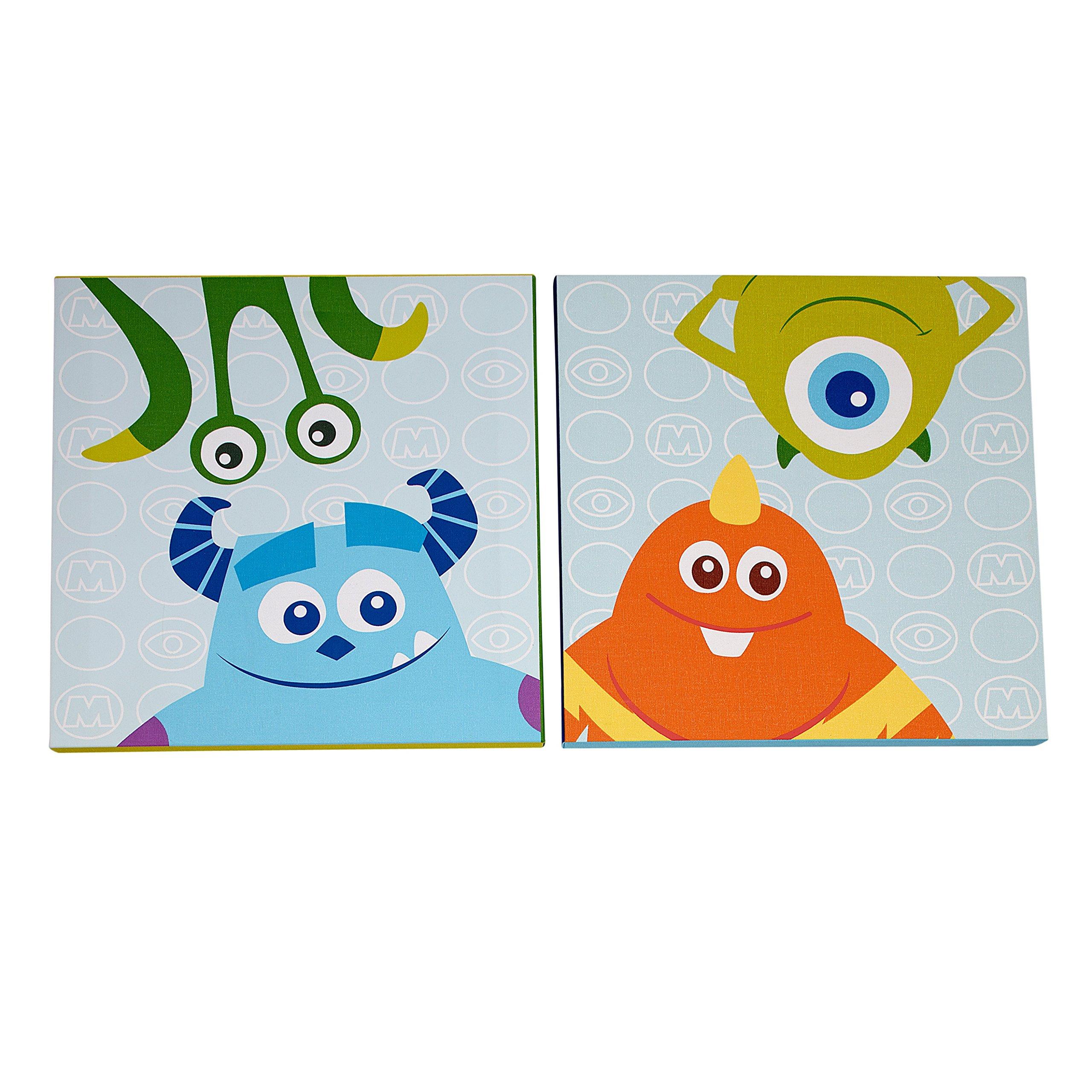 Disney Monsters Inc 2 Piece Canvas Wall Art Blue Green Orange
