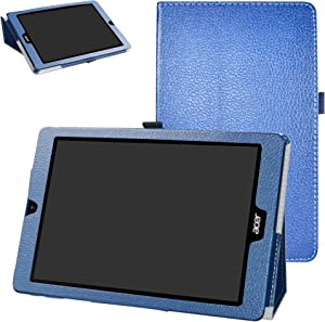 Acer Chromebook Tab 10 Case,Bige PU Leather Folio 2-Folding Stand Cover for Acer Chromebook Tab 10 Tablet,Dark Blue
