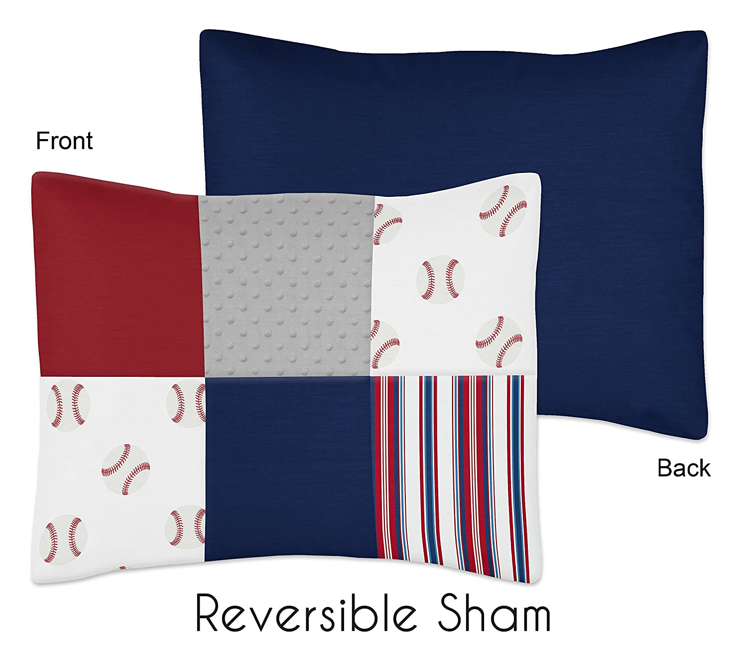 Sweet Jojo Designs Red, White and Blue Baseball Patch Sports Boy Toddler Kid Childrens Bedding Set - 5 Pieces Comforter, Sham and Sheets - Grey Patchwork Stripe 914nH5RstVL._SL1500_