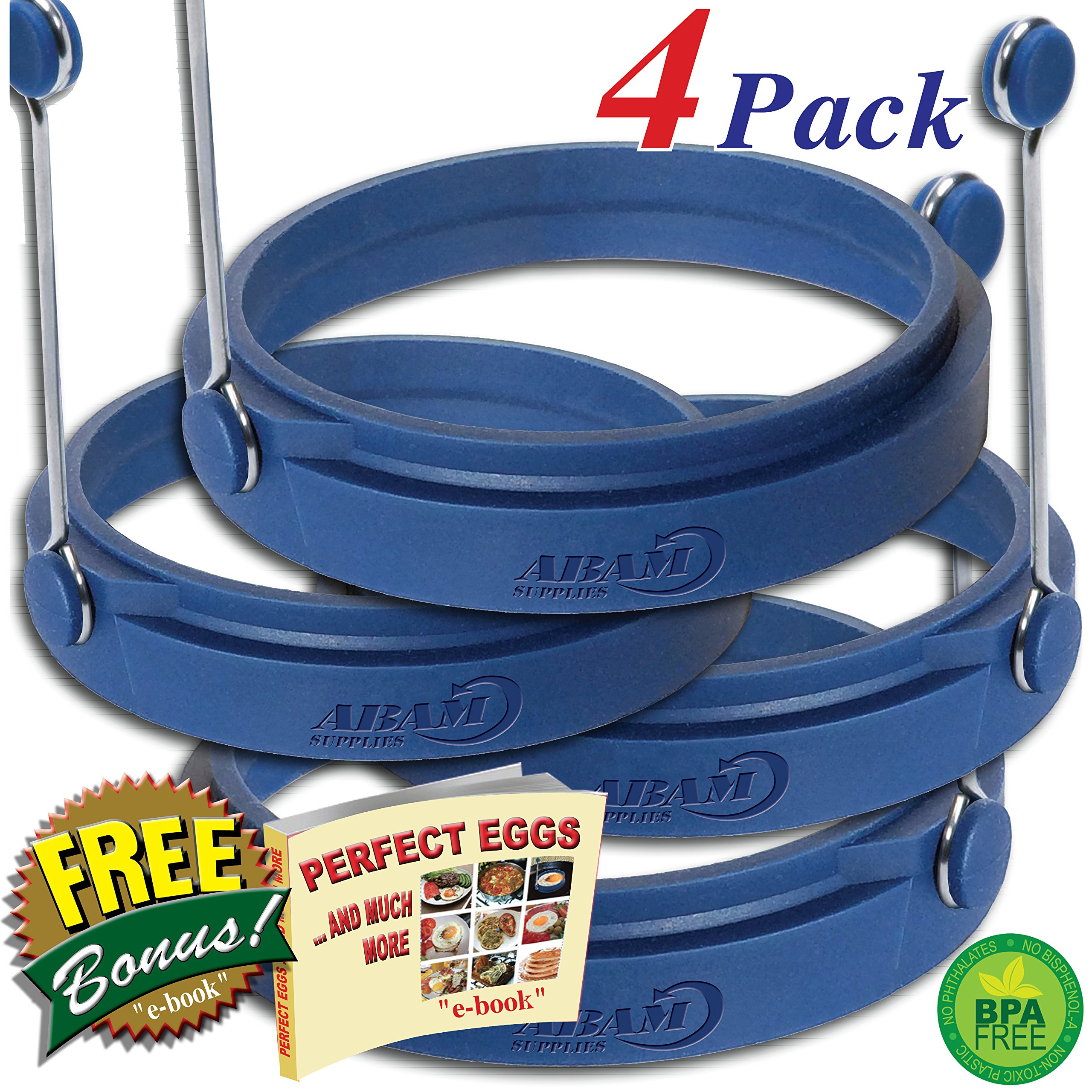 PROFESSIONAL Silicone Egg Ring- Pancake Breakfast Sandwiches - Benedict Eggs - Omelets and More Nonstick Mold Ring Round, Blue (4-pack)