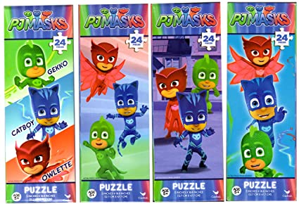 FOUR (4) PJ MASKS 24pc Tower Puzzles Assorted Styles Gekko, Catboy, and