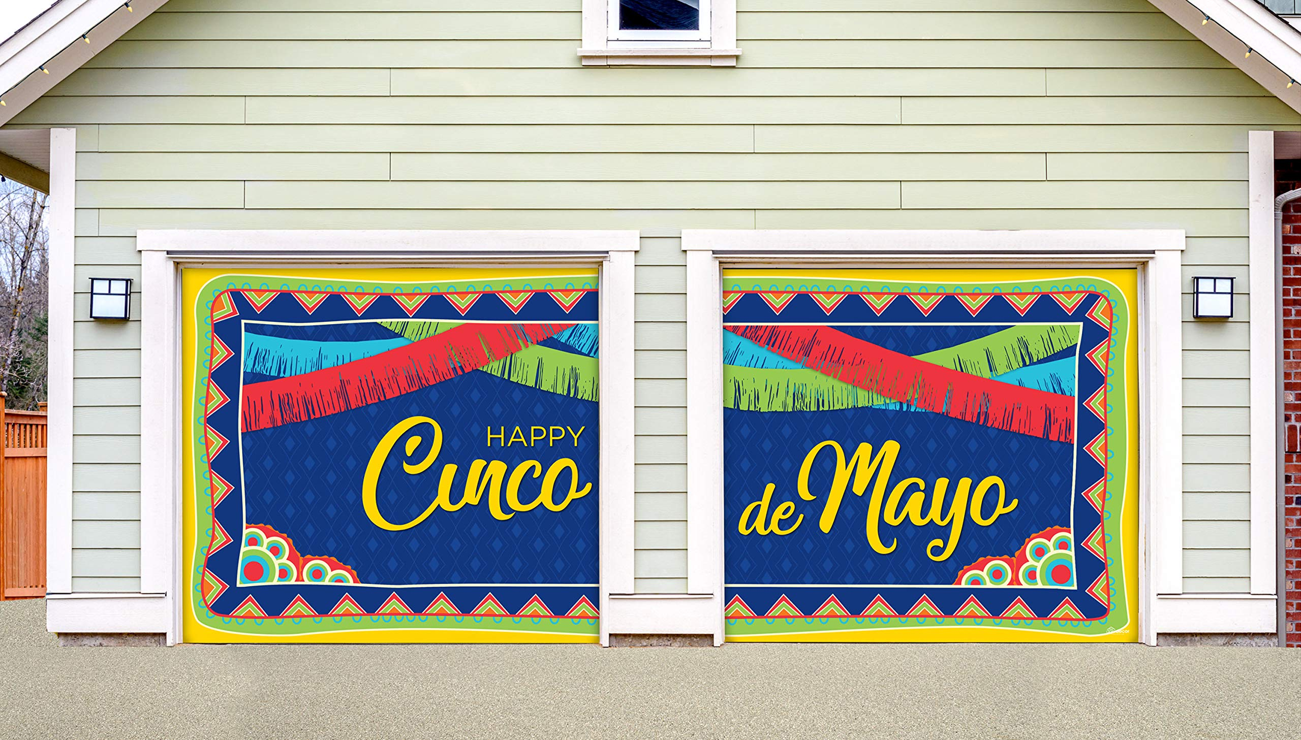 Victory Corps Happy Cinco de Mayo Pattern - Holiday Garage Door Banner Mural Sign Décor 7'x 8' Split Car Garage - The Original Holiday Garage Door Banner Decor
