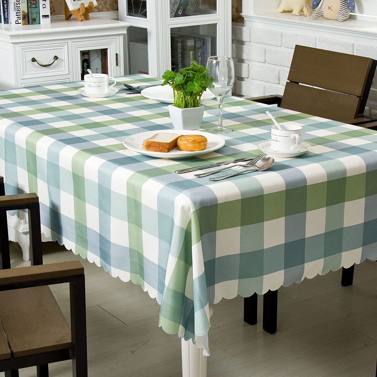 Ostepdecor Water Resistant Tablecloth Table Cloths Rectangle Polyester Decorative Table Top Cover For Kitchen Dining Room End Table Rectangle Oblong 60 X 84 Inches 6 8 Seats Green Kitchen Dining Amazon Com