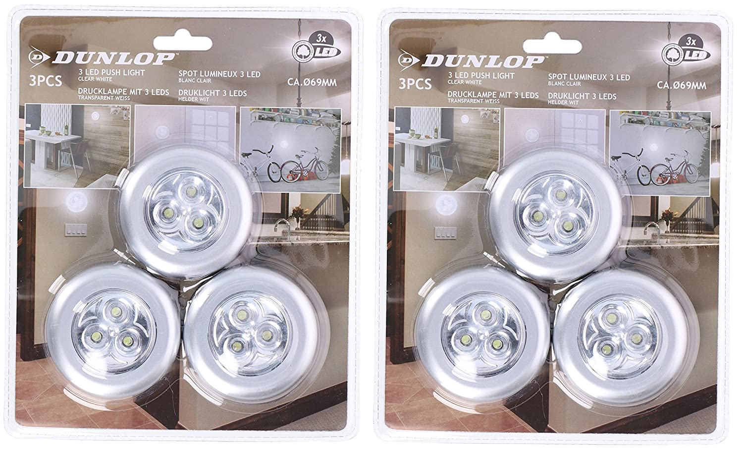 Dunlop Pack of 3 Battery Operated Kitchen Cabinet Cupboard LED Push Light (2 x Pack of 3) EDCO