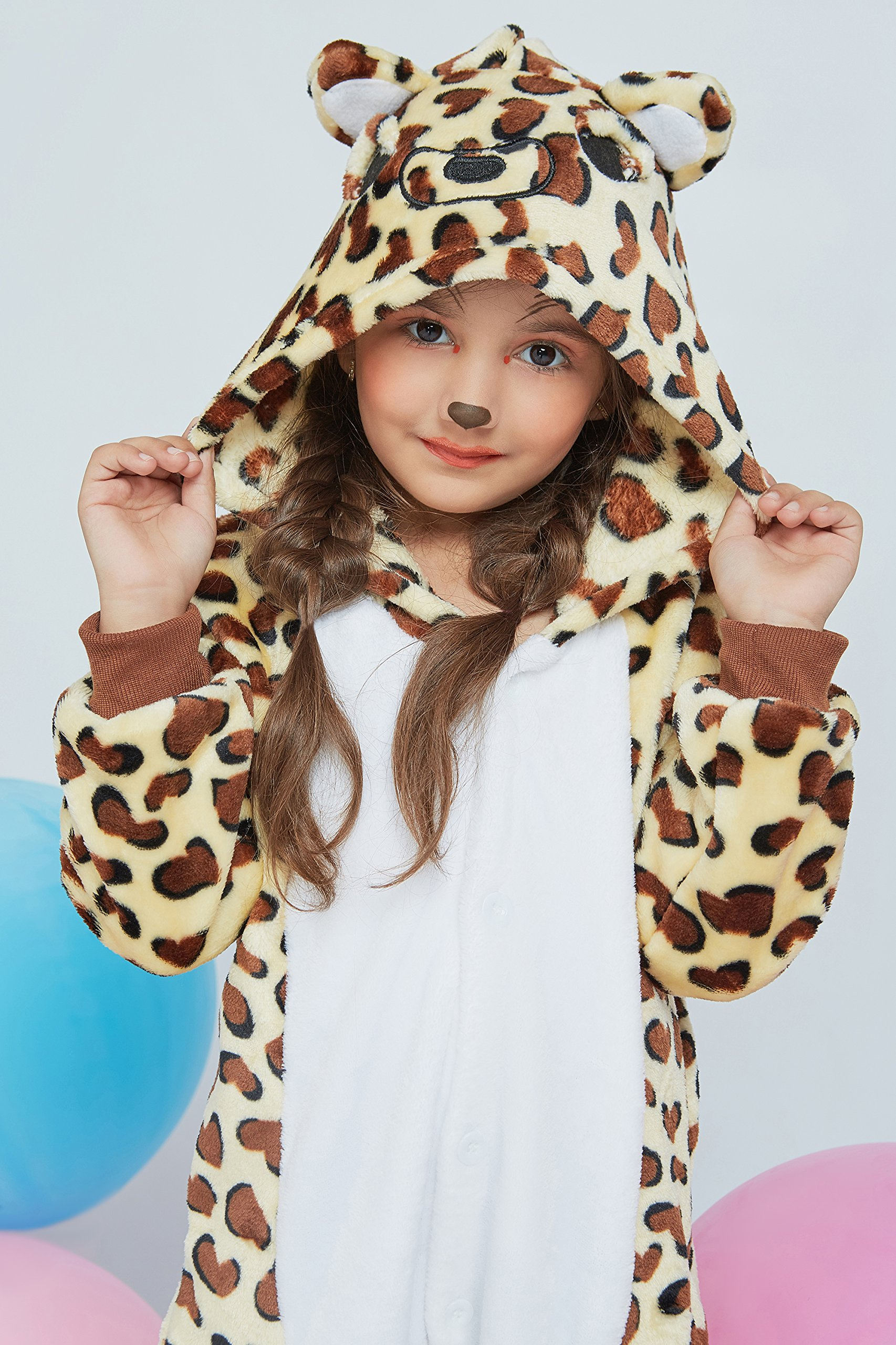 Kids Leopard Kigurumi Animal Onesie Pajamas Plush Onsie One Piece Cosplay Costume (Yellow, Brown, White) by Nothing But Love (Image #7)