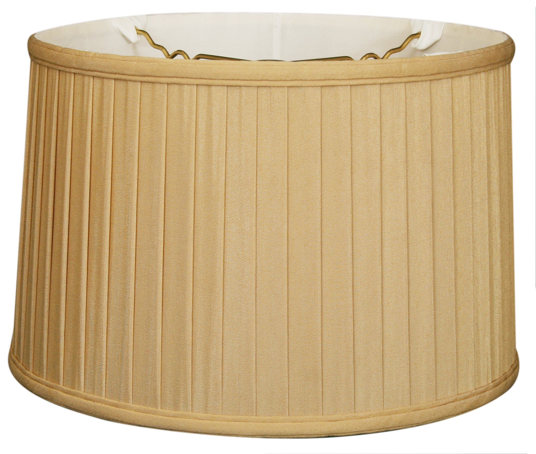 Royal Designs BS-749-18AGL Shallow Drum Side Pleat Basic Lamp Shade, 17'' x 18'' x 11.5'', Antique Gold