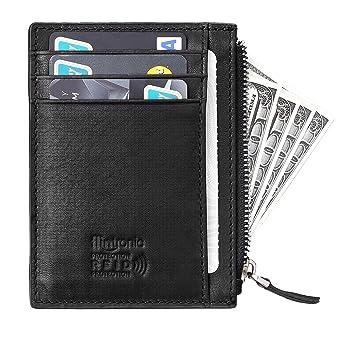Carte Bancaire Zip.Flintronic Portefeuille En Cuir Noir Etui Rfid Blocage Porte Carte De Credit Zip Porte Monnaie Coffret Cadeau