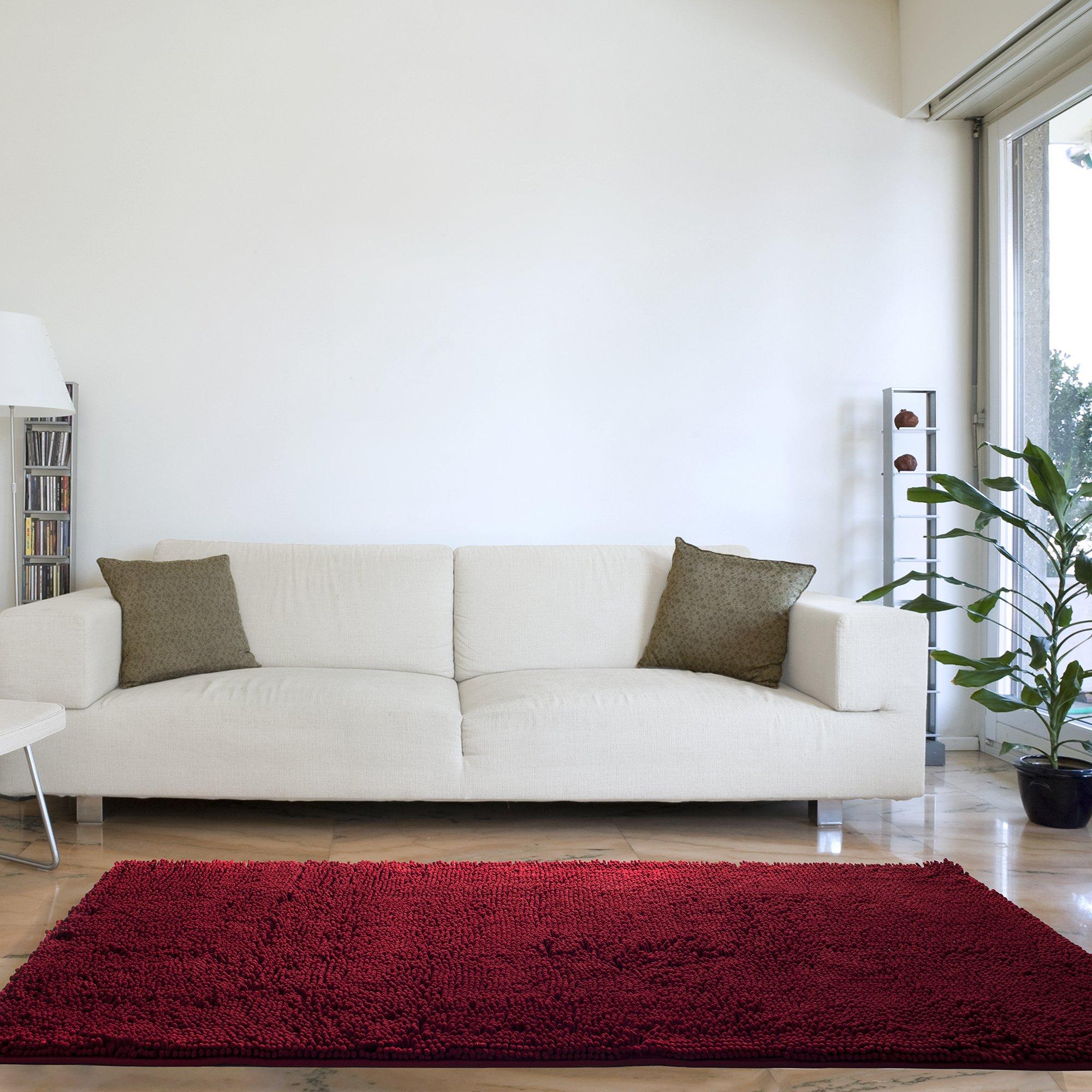 Bedford Home High Pile Shag Rug Carpet - Burgundy - 30x60