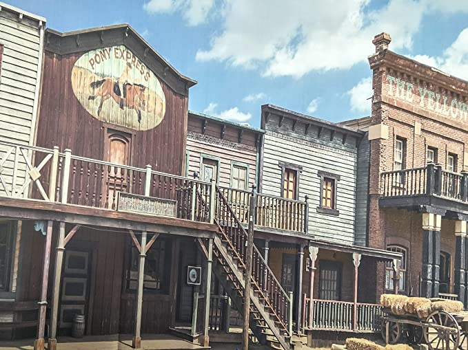 15x10ft Polyester Western Scenery Photography Backdrop Blue Sky Far West Adventure Old Vintage Villiage Town Building House Photo Background Travel Photo Studio Props Wrinkle Resistant