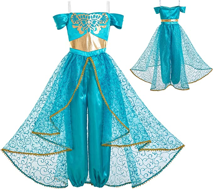 INGSIST Traje de jazmín Disfraz para niña Vestido Princesa árabe ...