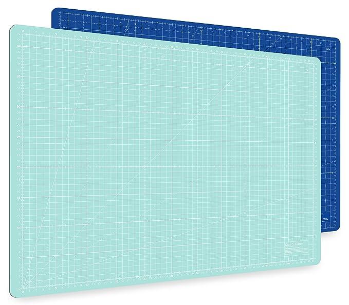 Guss & Mason Selbstheilende Schneidematte A2 in Blau, Pink, Grün. Perfekt zum Nähen, Basteln und Patchworken. 60x45 beidseiti