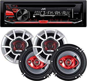 JVC KD-R370 Single Din in-Dash CD/Am/FM/Car Stereo W/Detachable Faceplate + 350 Watts 6 Inches (4 Speakers)