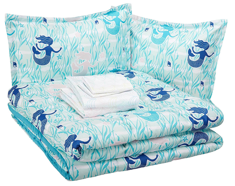 AmazonBasics Easy-Wash Microfiber Kid's Bed-in-a-Bag Bedding Set - Full / Queen, Blue Mermaids