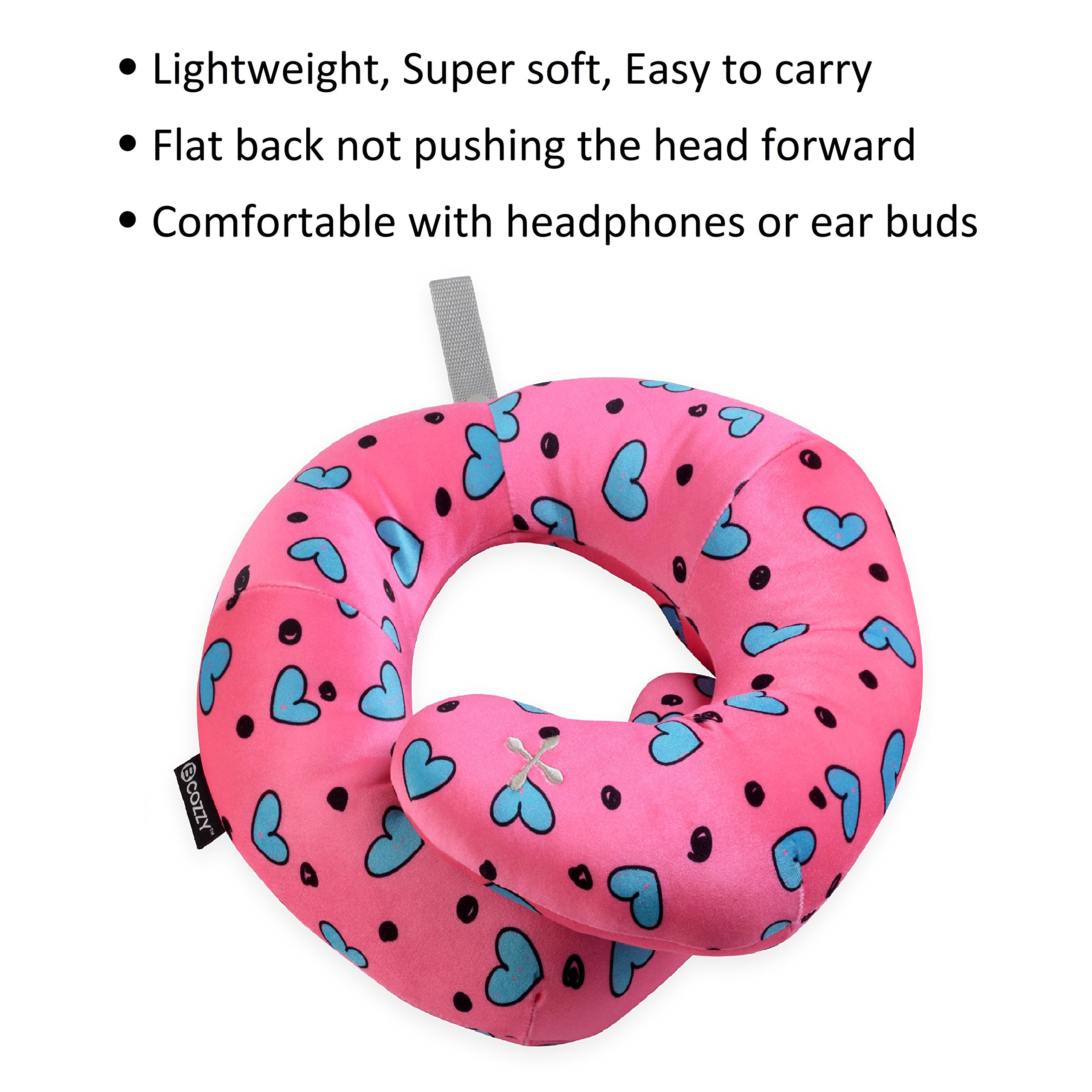 BCOZZY Kids Chin Supporting Travel Neck Pillow - Supports The Head, Neck Chin in in Any Sitting Position. A Patented Product. Child Size, Turquoise Hearts by BCOZZY (Image #4)