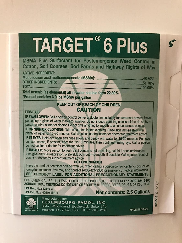 Target 6 Plus (MSMA) 48 2% Turf Herbicide - 5 gallons:1 case (2 x 2 5  Gallon jugs)