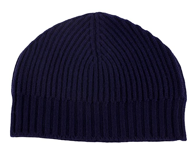 956dc4f93 Love Cashmere Mens Ribbed 100% Cashmere Beanie Hat - Navy Blue ...