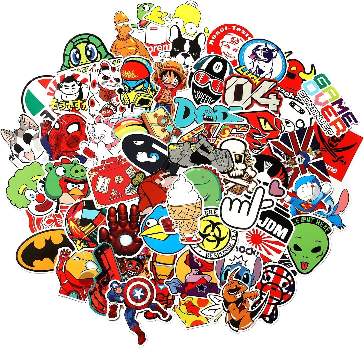 CHNLML Love Sticker Pack 100-Pcs,Cool Sticker Decals Vinyls for Laptop,Kids,Cars,Motorcycle,Bicycle,Skateboard Luggage,Bumper Stickers Hippie Decals Bomb Waterproof(Not Random) (H)
