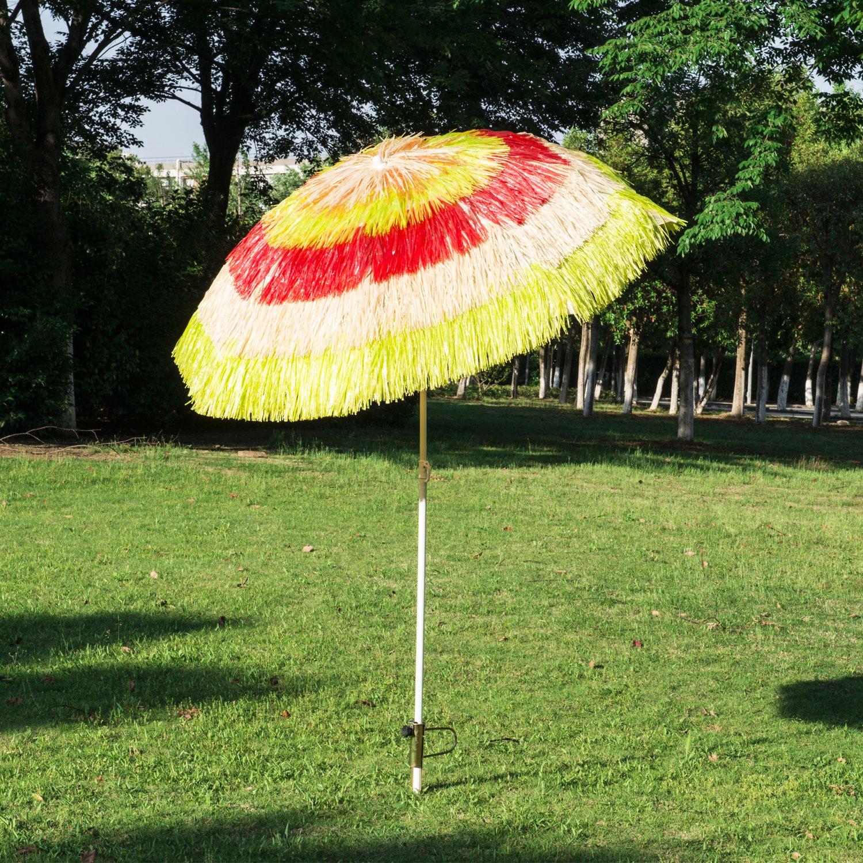 Outsunny 6\' Multi Color Outdoor Tiki Thatch Patio Umbrella w/ Tilt ...