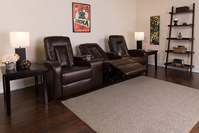 Amazon Flash Furniture Eclipse Series 3 Seat Reclining Brown Leather Theater Seating Unit With Cup Holders Kitchen Dining