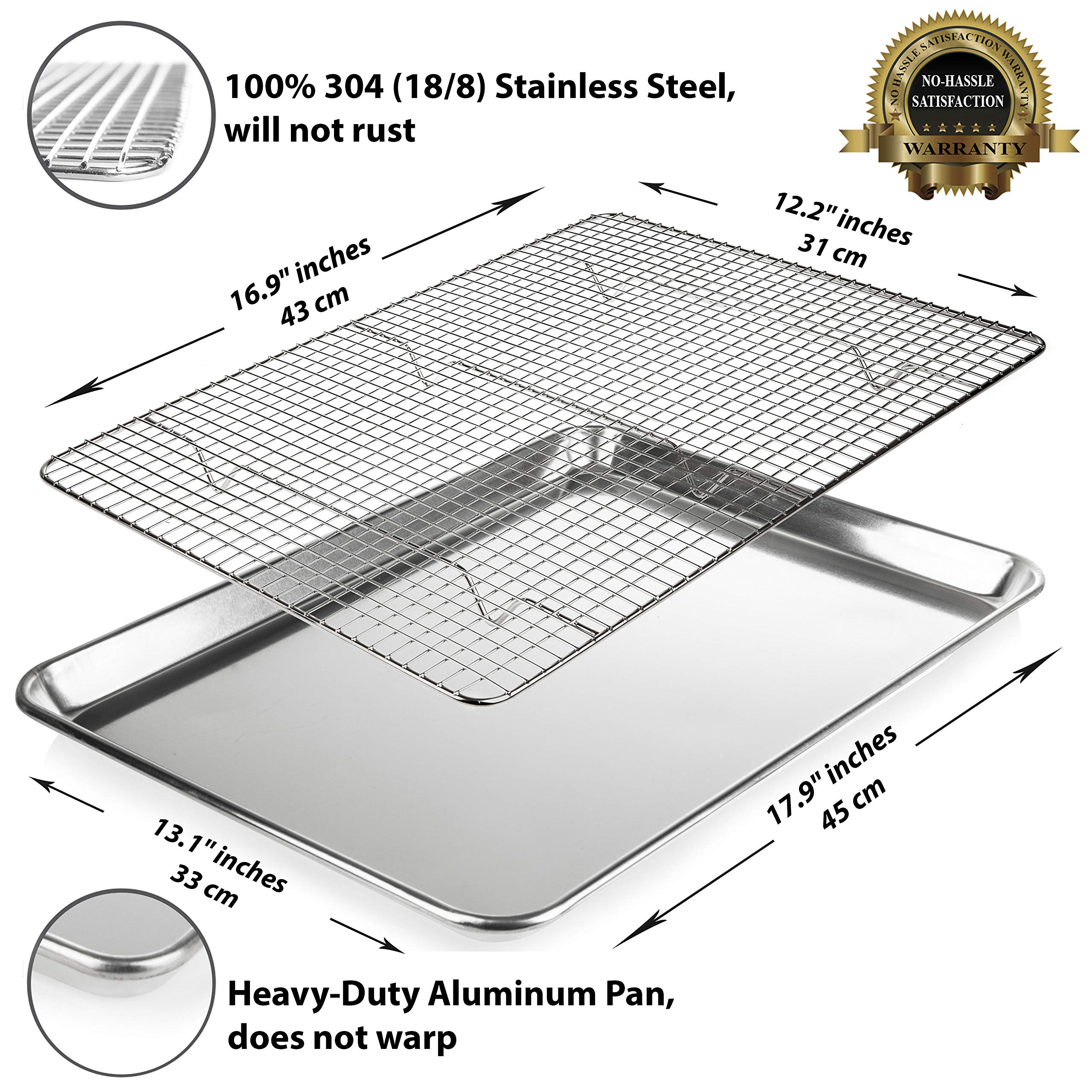 KITCHENATICS Baking Sheet with Cooling Rack: Half Aluminum Cookie Pan Tray with Stainless Steel Wire and Roasting Rack - 13.1'' x 17.9'', Heavy Duty Commercial Quality by KITCHENATICS (Image #4)