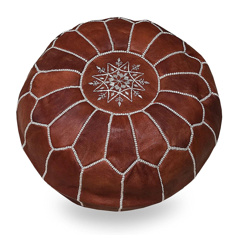 Leather Ottoman Pouf Moroccan Handmade Footstool Pouffe Genuine Hassock Unstuffed Morocco Luxury L Artisanat Tan Poufs