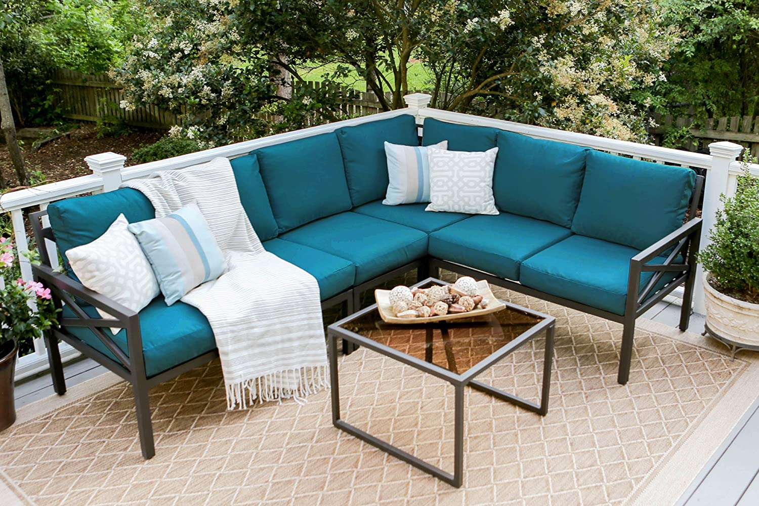 Leisure Made Blakely 5 Piece Black Outdoor Sectional, Peacock Fabric