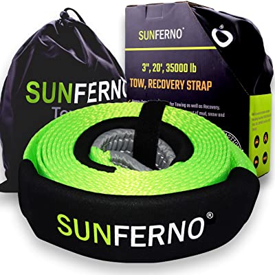 "Sunferno Tow Recovery Strap 35000lb - Recover Your Vehicle Stuck in Mud/Snow - Heavy Duty 3"" x 20' Winch Snatch Strap - Protective Loops, Water-Resistant - Off Road Truck Accessory - Bonus Storage Bag: Automotive"