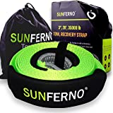"Sunferno Recovery Tow Strap 35000lb - Recover Your Vehicle Stuck in Mud/Snow - Heavy Duty 3"" x 20' Winch Snatch Strap - Prote"